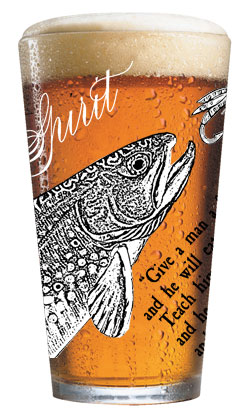 Trout Pint Glass